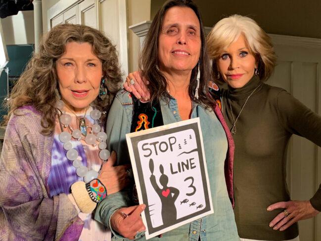 Lily Tomlin, Winona LaDuke, Jane Fonda StopLine3 (Photo by Sarah LittleRedfeather for Honor the Earth - Artwork by Isaac Murdoch)