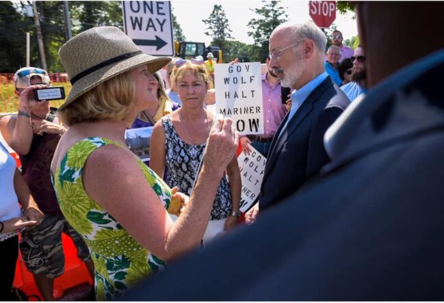 Pennsylvania Gov. Tom Wolf visits Mariner East impact zone, East Gosen Township, PA, August 2019 (Photo: Del-Chesco United for Pipeline Safety)