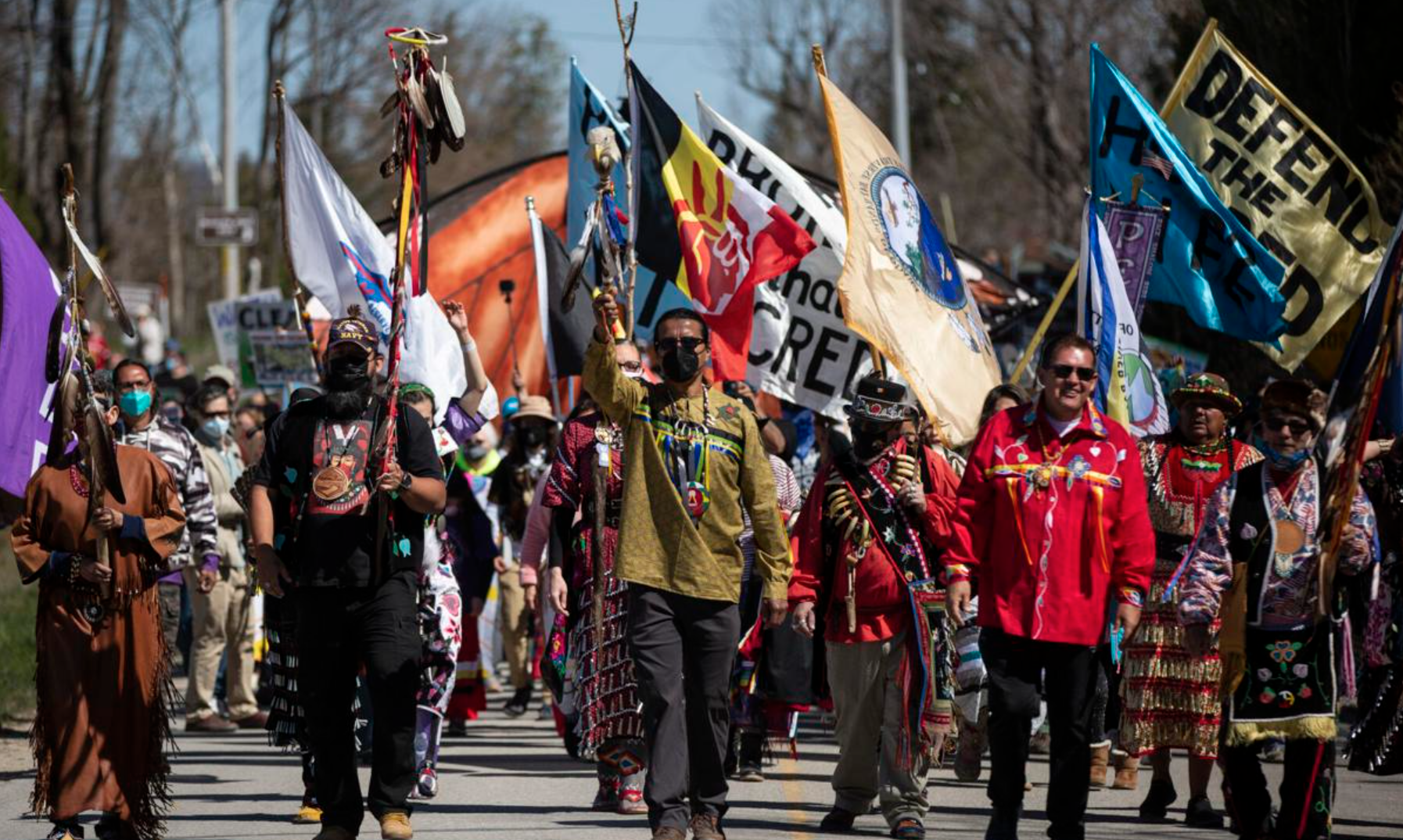 """Indigenous-led march to """"Evict Enbridge"""" Line 5 pipeline from Straits of Mackinac on May 13, 2021 (Photo: Mike Krebs / Record Eagle)"""
