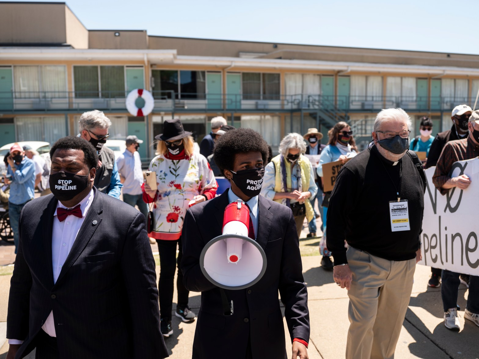 Justin J. Pearson, center, a co-founder of Memphis Community Against the Pipeline, led a march from the National Civil Rights Museum to Memphis City Hall Monday in support of an ordinance before the City Council that would regulate hazardous material underground transportation or storage, including by pipelines. (Photo: Brad Vest for MLK50)