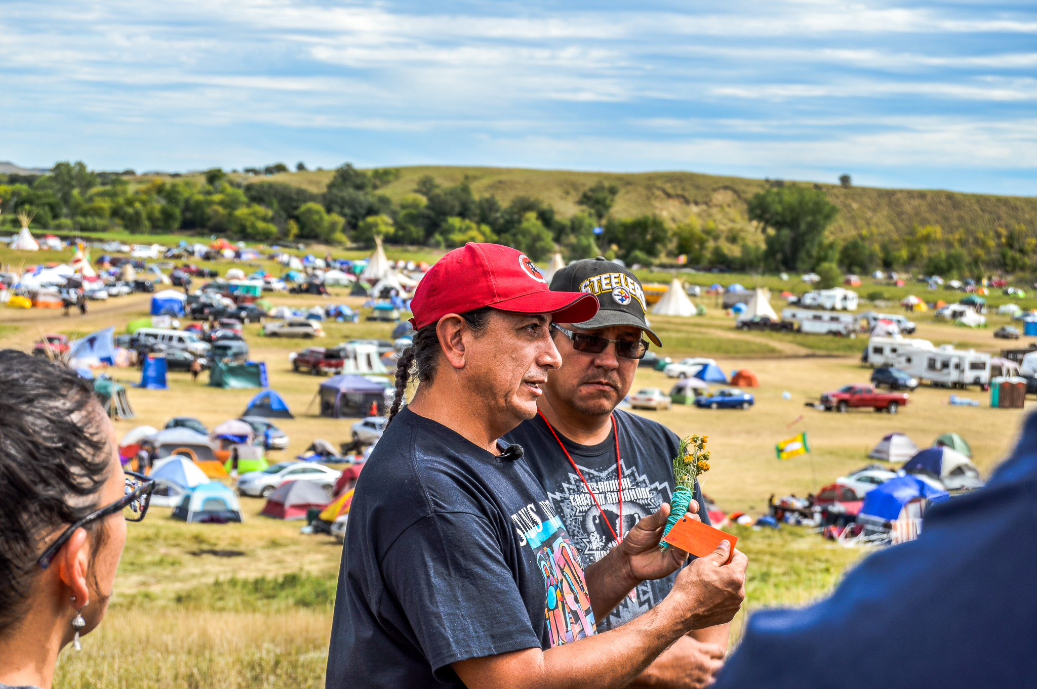 Standing Rock Sioux Chairman Dave Archambault II talking with reporters on 8 Sept 2016. (Photo by Rob Wilson for Bold Alliance)